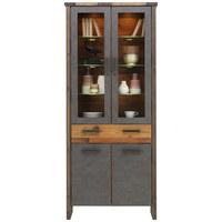 VITRÍNA, šedá, barvy pinie - šedá/antracitová, Trend, kompozitní dřevo/umělá hmota (89/212/42cm) - Hom`in