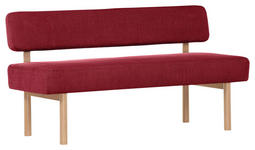 SITZBANK 160/87/58 cm  in Rot  - Buchefarben/Rot, KONVENTIONELL, Holz/Textil (160/87/58cm) - Cantus