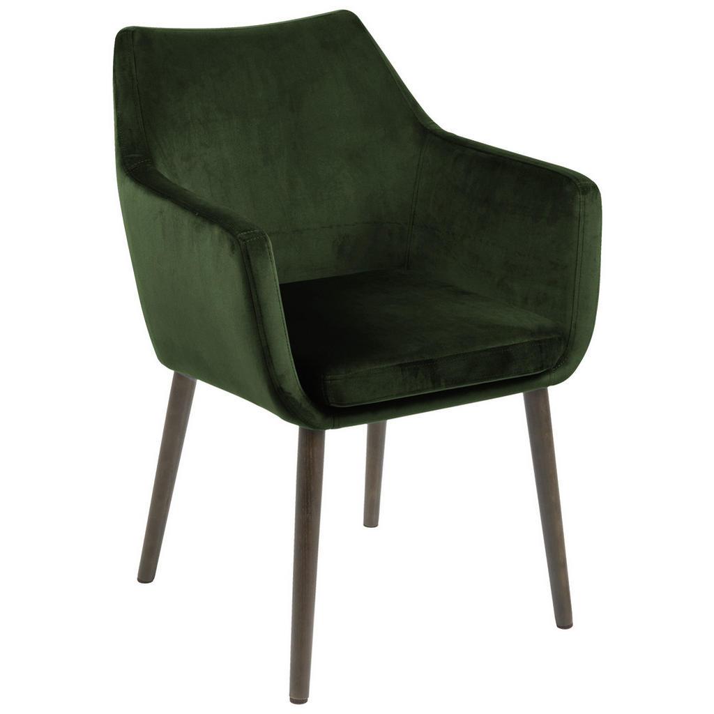 Image of Ambia Home Armlehnstuhl in dunkelgrün , Nora , Textil , Eiche , 58x84x58 cm , gebeizt,Samt , 001749039804