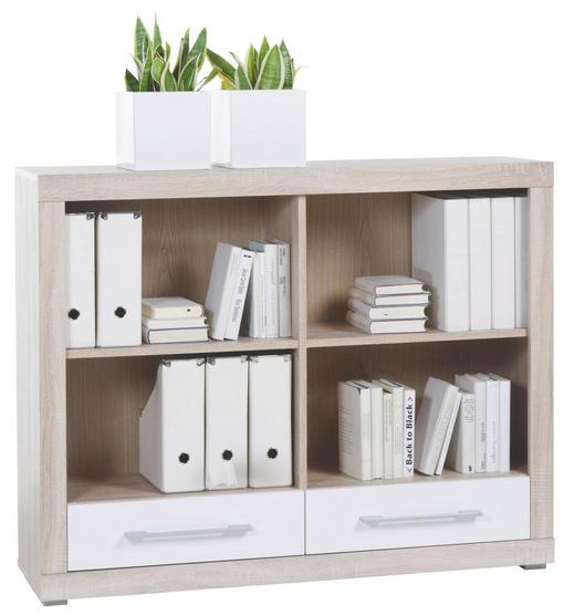 REGAL Sonoma Eiche, Weiß - Alufarben/Weiß, Design, Holz/Kunststoff (124/98/36cm) - CANTUS