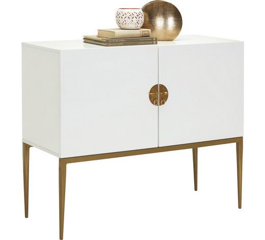 KOMODA, bílá, bronzová - bílá/bronzová, Design, kov/kompozitní dřevo (100/85/40cm) - Carryhome