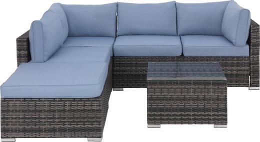 Loungegarnitur 14-teilig - Grau/Hellblau, Design, Glas/Kunststoff (215/211cm) - Amatio