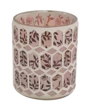 VÄRMELJUSGLAS - vit/rosa, Basics, glas (7,5/8cm) - Ambia Home