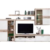 WOHNWAND Weiß, Eichefarben  - Eichefarben/Alufarben, Design, Glas/Holzwerkstoff (300/200,9/41cm) - Carryhome