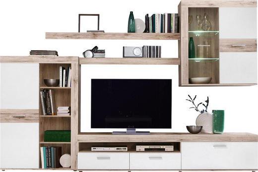 WOHNWAND Eichefarben, Weiß - Eichefarben/Alufarben, Design, Glas/Holzwerkstoff (300/200,9/41cm) - Carryhome