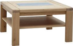 COUCHTISCH Wildeiche massiv quadratisch Eichefarben - Eichefarben, Design, Glas/Holz (80/45/80cm) - Valnatura