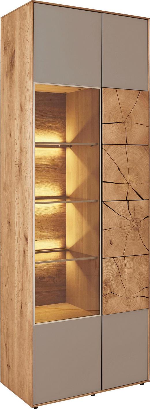 VITRINE Kerneiche vollmassiv Eichefarben, Fango - Fango/Eichefarben, Design, Glas/Holz (70/196/39cm) - Valnatura