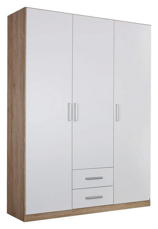 DREHTÜRENSCHRANK Eichefarben, Weiß - Eichefarben/Silberfarben, Design, Holzwerkstoff/Kunststoff (136/197/54cm) - Carryhome