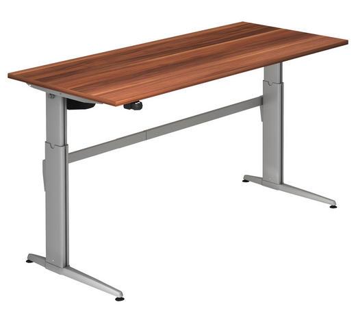 SCHREIBTISCH - Silberfarben/Zwetschgefarben, KONVENTIONELL, Holzwerkstoff/Metall (180/72-119/80cm)