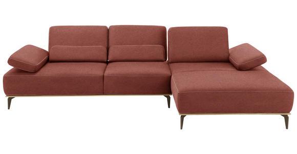 WOHNLANDSCHAFT Rot Flachgewebe  - Beige/Rot, Design, Textil/Metall (298/178cm) - Valnatura
