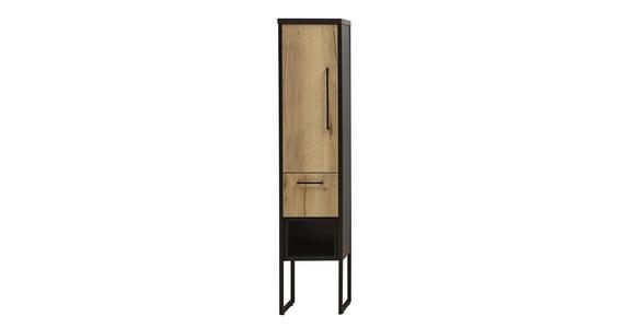 SEITENSCHRANK 30/128/30 cm - Eichefarben/Anthrazit, Design, Holzwerkstoff/Metall (30/128/30cm) - Dieter Knoll
