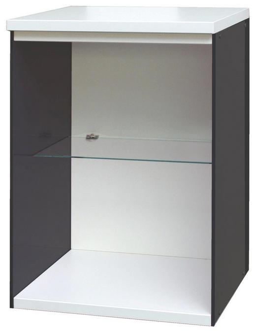 REGAL Graphitfarben, Weiß - Graphitfarben/Weiß, Design, Glas/Kunststoff (50/72,8/42cm) - Xora
