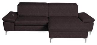 WOHNLANDSCHAFT in Textil Dunkelbraun  - Chromfarben/Dunkelbraun, Design, Textil/Metall (261/164cm) - Hom`in