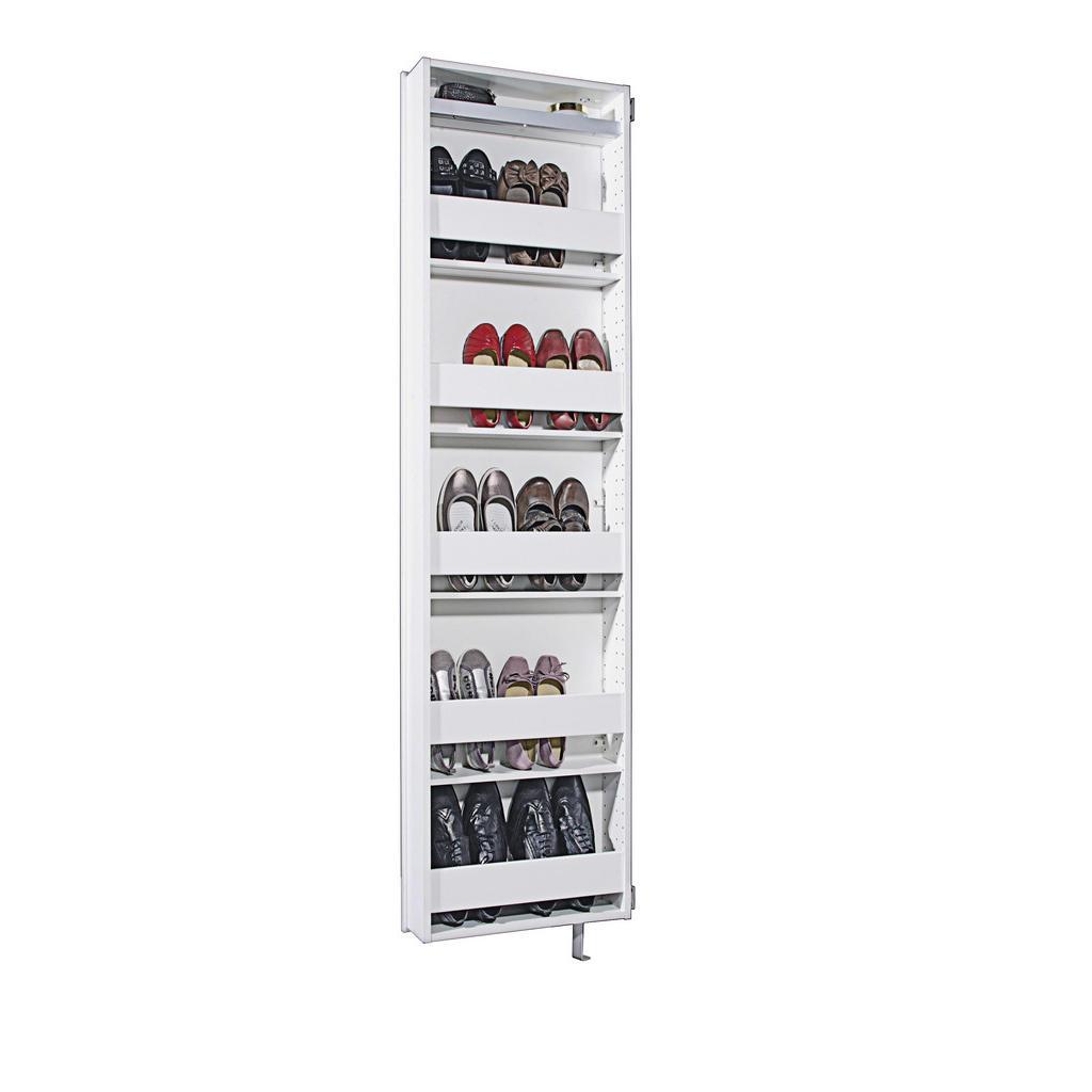 Xora Schuhschrank , Weiß , Holz , 4 Fächer , 50x195x18 cm , Garderobe, Schuhschränke