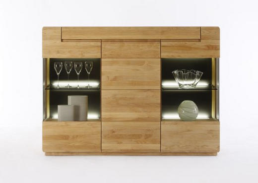 SIDEBOARD Eiche massiv geölt Eichefarben - Eichefarben, Design, Glas/Holz (180/132/40cm)