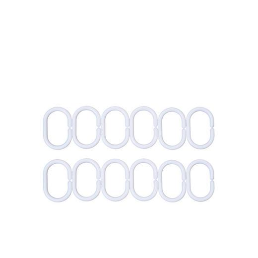 DUSCHVORHANGRINGE - Weiß, Basics, Kunststoff (6cm)