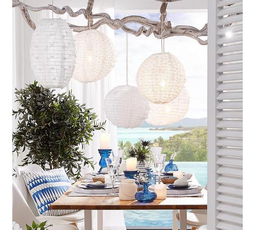 LAMPION   - Weiß, Trend, Textil/Metall (30cm)