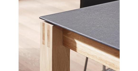 ESSTISCH Eiche massiv rechteckig Eichefarben, Graphitfarben - Eichefarben/Graphitfarben, Design, Holz/Kunststoff (180(280)/90/75cm) - Dieter Knoll
