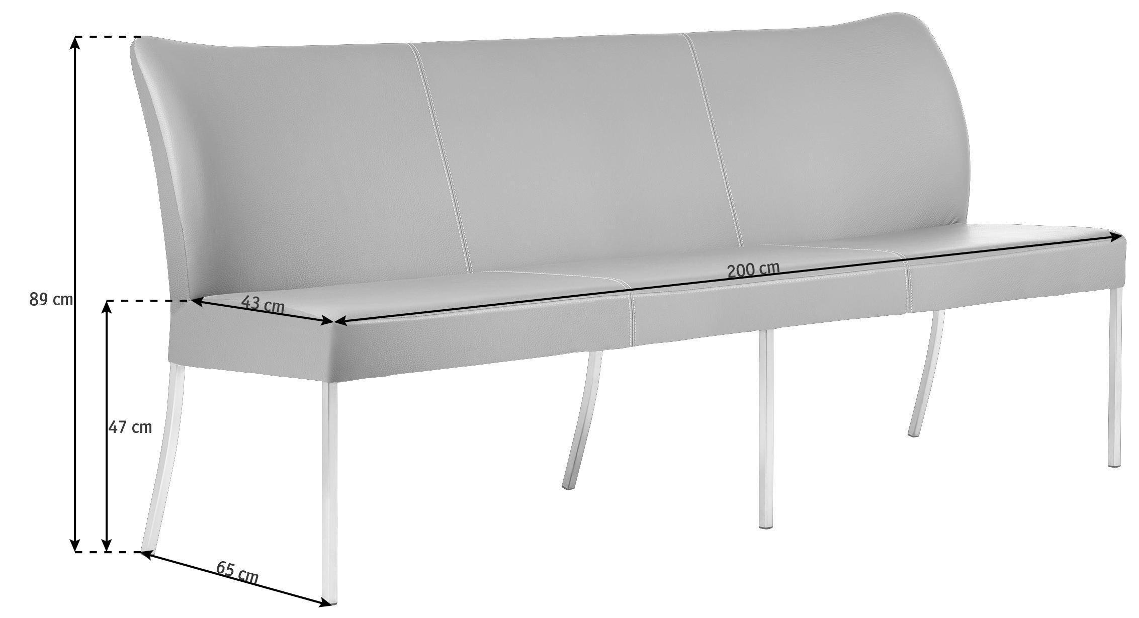 SITZBANK Echtleder Edelstahlfarben, Grün - Edelstahlfarben/Grün, Design, Leder/Metall (200cm) - BERT PLANTAGIE