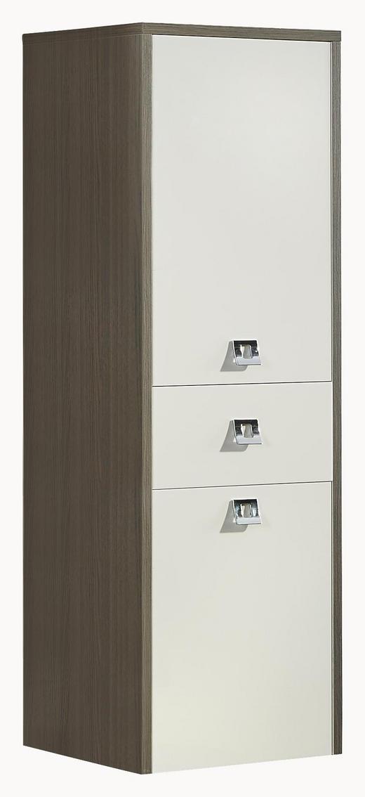 SEITENSCHRANK Weiß - Chromfarben/Ulmefarben, KONVENTIONELL, Holzwerkstoff/Kunststoff (39/117/37cm) - Xora