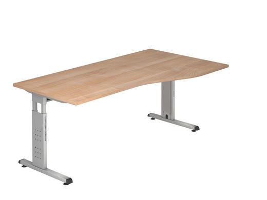 SCHREIBTISCH - Silberfarben/Nussbaumfarben, KONVENTIONELL, Holzwerkstoff/Metall (100/180cm)