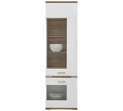 VITRINE Weiß, Eichefarben  - Eichefarben/Silberfarben, Design, Glas/Holzwerkstoff (60,1/206,1/38cm) - Hom`in