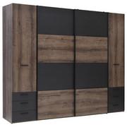 KLEIDERSCHRANK in Eichefarben, Schwarz - Eichefarben/Schwarz, Design, Holzwerkstoff/Kunststoff (270,3/223/61,2cm) - Carryhome