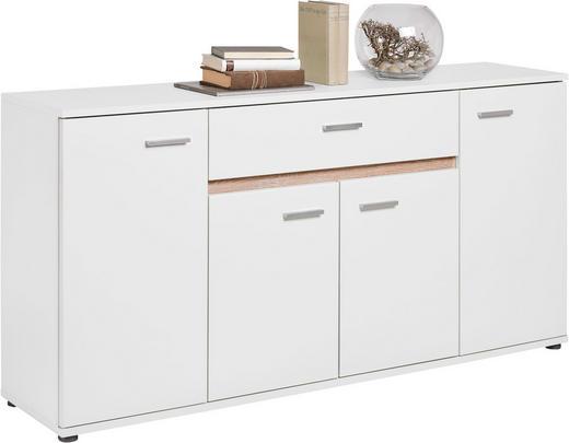 KOMMODE Sonoma Eiche, Weiß - Silberfarben/Weiß, Design, Holzwerkstoff/Kunststoff (160/80/35cm) - Carryhome