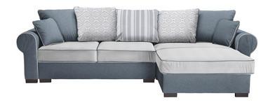 WOHNLANDSCHAFT Grau, Weiß Mikrofaser - Weiß/Braun, ROMANTIK / LANDHAUS, Kunststoff/Textil (310/193cm) - Hom`in