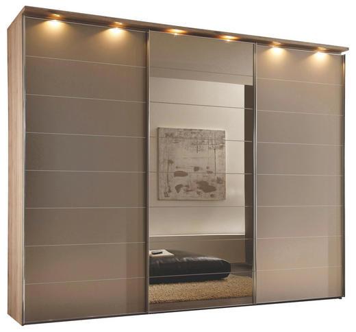 SCHWEBETÜRENSCHRANK 3  -türig Bronzefarben, Eichefarben - Eichefarben/Alufarben, KONVENTIONELL, Glas/Holzwerkstoff (249/222/68cm) - Novel