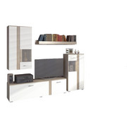 REGAL ZA DNEVNI BORAVAK bijela, hrast Sonoma   - bijela/hrast Sonoma, Design, drvni materijal/metal (225/200/38cm) - Ti`me