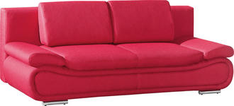SCHLAFSOFA in Textil Rot  - Chromfarben/Rot, Design, Textil/Metall (210/84/90cm) - Novel