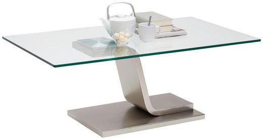 COUCHTISCH in Metall, Glas 115/65/42 cm - Nickelfarben, Design, Glas/Metall (115/65/42cm) - Novel