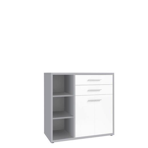 SIDEBOARD melaminharzbeschichtet Grau, Weiß - Alufarben/Schwarz, Design, Glas/Holzwerkstoff (117,3/110,7/40cm) - Novel