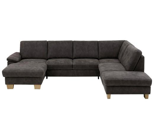 WOHNLANDSCHAFT in Textil Grau - Eichefarben/Beige, KONVENTIONELL, Holz/Textil (167/316/235cm) - Beldomo System