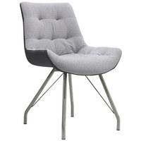 STUHL in Metall, Textil Edelstahlfarben, Grau - Edelstahlfarben/Grau, Design, Textil/Metall (55,5/83/62,5cm) - Hom`in
