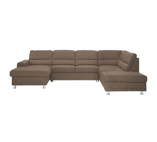 WOHNLANDSCHAFT Braun Webstoff  - Silberfarben/Braun, KONVENTIONELL, Textil/Metall (166/311/234cm) - Beldomo System