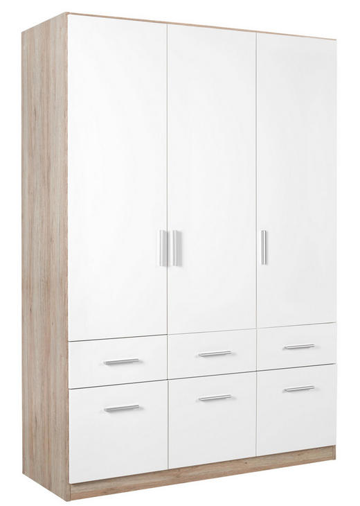 DREHTÜRENSCHRANK 3-türig Eichefarben, Weiß - Eichefarben/Alufarben, KONVENTIONELL, Holzwerkstoff/Kunststoff (136/197/54cm) - Carryhome