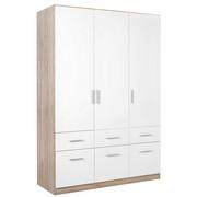 OMARA S KLASIČNIMI VRATI, bela, hrast - aluminij/bela, Konvencionalno, umetna masa/leseni material (136/197/54cm) - Xora