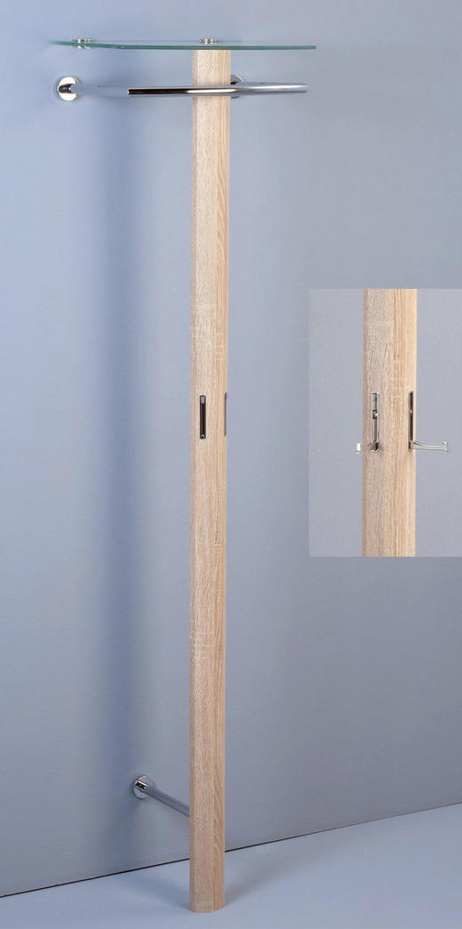 GARDEROBE Eichefarben - Eichefarben, Design, Glas/Metall (50/185/36cm)