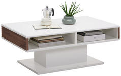 COUCHTISCH rechteckig Akaziefarben, Weiß - Weiß/Akaziefarben, Design (110/65/43cm) - Hom`in