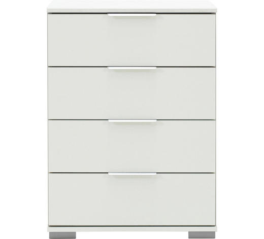 NACHTKÄSTCHEN in Weiß - Alufarben/Weiß, Design, Holzwerkstoff/Kunststoff (52/74/38cm) - Carryhome