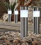4er Set Solarleuchten - Edelstahlfarben, Design, Kunststoff/Metall (6,5/6,5/38cm) - BOXXX