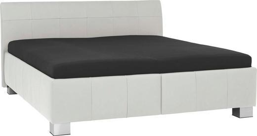 POLSTERBETT 160/200 cm - Silberfarben/Weiß, KONVENTIONELL, Leder/Textil (160/200cm) - XORA