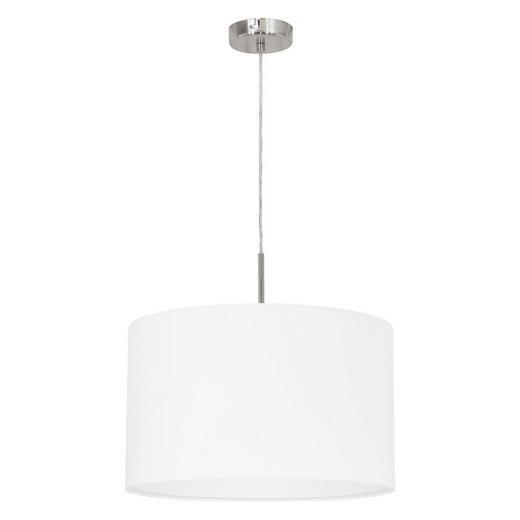 HÄNGELEUCHTE - Weiß/Nickelfarben, KONVENTIONELL, Textil/Metall (38/110cm)