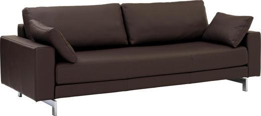 DREISITZER-SOFA in Braun Leder - Chromfarben/Braun, Design, Leder/Metall (219/85/88cm) - ROLF BENZ