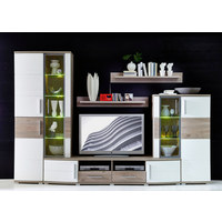 KOMODA, bela, srebrni hrast - bela/srebrni hrast, Design, umetna masa/steklo (171/134/44cm) - Xora