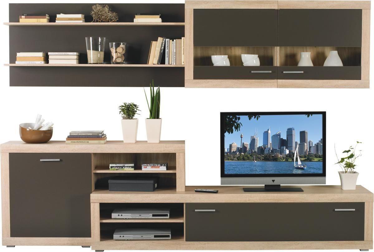 ... WOHNWAND Braun, Eichefarben   Eichefarben/Alufarben, Design,  Glas/Holzwerkstoff (280