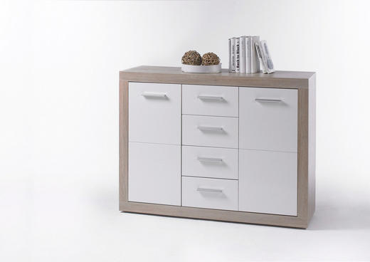 KOMMODE Sonoma Eiche, Weiß - Alufarben/Weiß, Basics, Holzwerkstoff/Kunststoff (117/88/37cm) - Xora