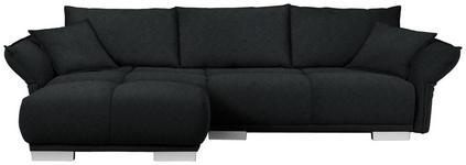 WOHNLANDSCHAFT in Textil Schwarz - Chromfarben/Schwarz, MODERN, Kunststoff/Textil (203/310cm) - Hom`in